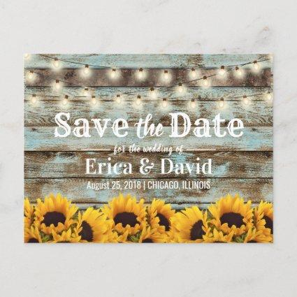 Rustic Sunflower Barn Wedding Save the Date Announcement