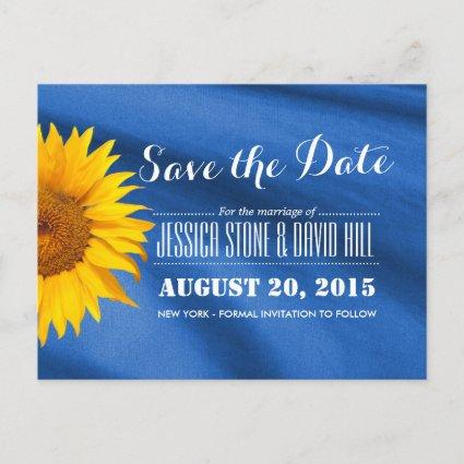 Rustic Sunflower Blue Fabric Save the Date Announcement