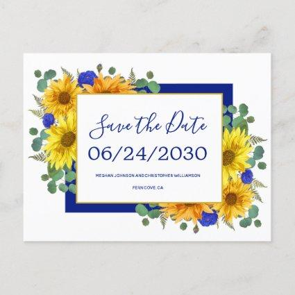 Rustic Sunflower Blue Roses Wedding Save the Date Announcement