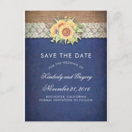 Rustic Sunflower Burlap Navy Save the Date Announcement