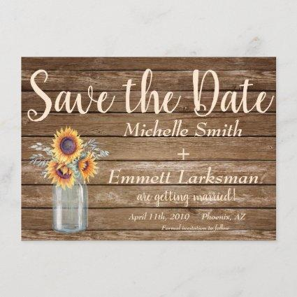 Rustic Sunflower CountryVintage Wood Save the Date