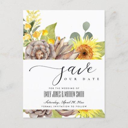 RUSTIC SUNFLOWER EUCALYPTUS FLORAL SAVE THE DATE ANNOUNCEMENT