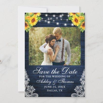 Rustic Sunflower Floral Blue Wood Lights Photo Save The Date