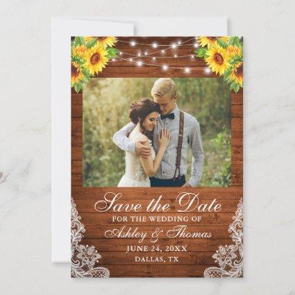 Rustic Sunflower Floral Wood String Lights Photo Save The Date