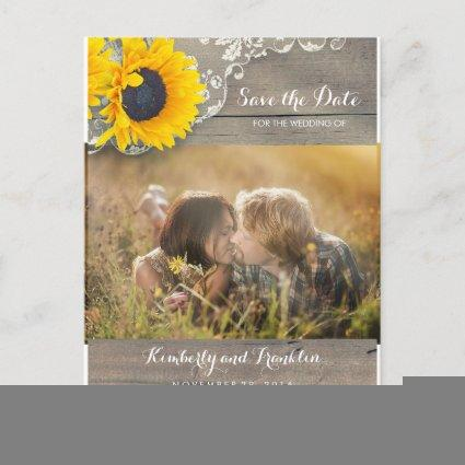Rustic Sunflower Lace Photo Save the Date Announcements Cards