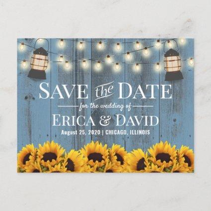 Rustic Sunflower Lantern Dusty Blue Save the Date Announcement