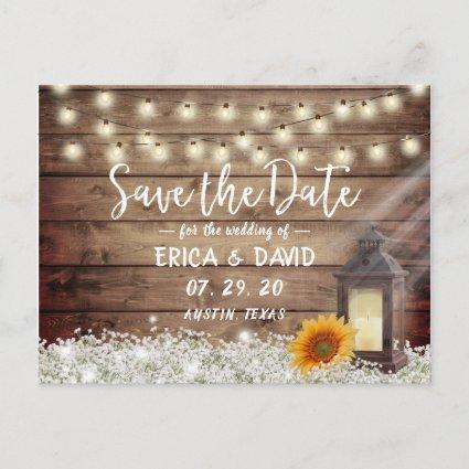 Rustic Sunflower Lantern Wedding Save the Date Announcement