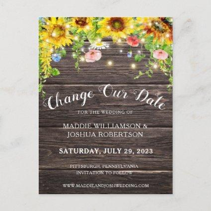 RUSTIC SUNFLOWER LIGHTS BARNWOOD CHANGE OUR DATE