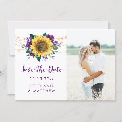 Rustic Sunflower Lights Purple Photo Save The Date