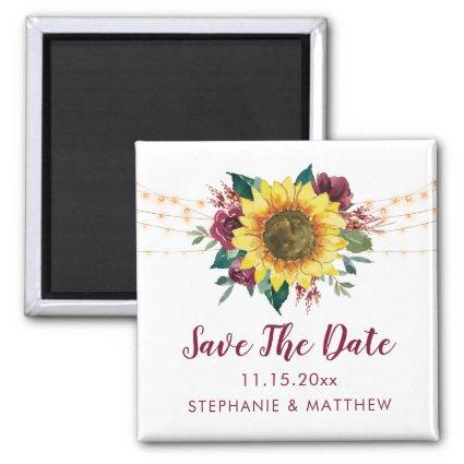 Rustic Sunflower Lights Save The Date Magnet