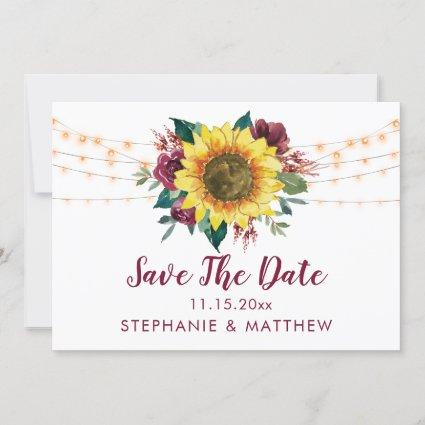 Rustic Sunflower Lights Wedding Save The Date