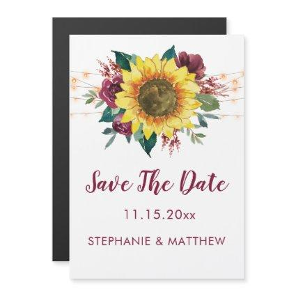 Rustic Sunflower Lights Wedding Save The Date Magnetic Invitation