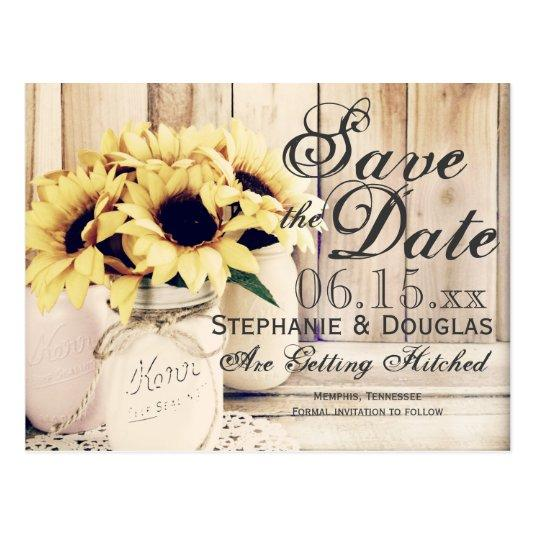 Rustic Sunflower Mason Jar Save the Date Cards