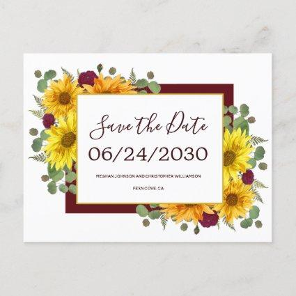 Rustic Sunflower Red Roses Wedding Save the Date Announcement