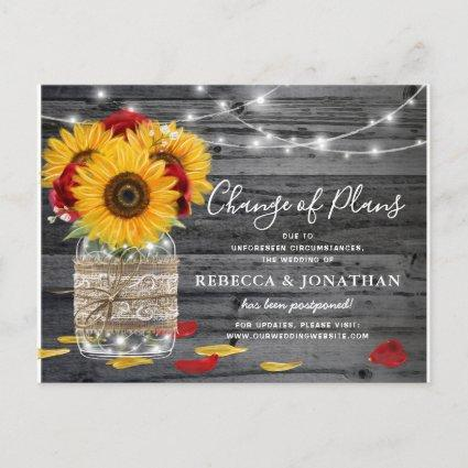 Rustic Sunflower Rose Wedding Change the Date Announcement