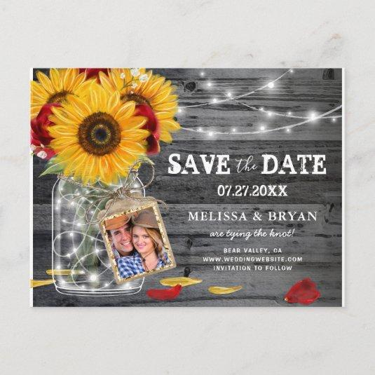 Rustic Sunflower Rose Wedding Photo Save the Date Announcement