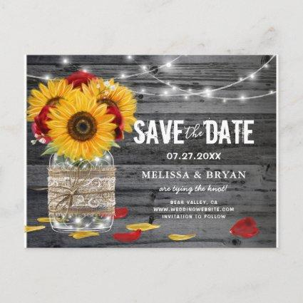 Rustic Sunflower Rose Wedding Wood Save the Date Announcement