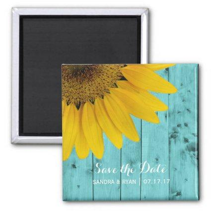Rustic Sunflower Save the Date Turquoise Wood Magnet