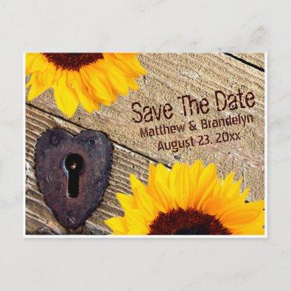 Rustic Sunflower Save The Date Wedding Post