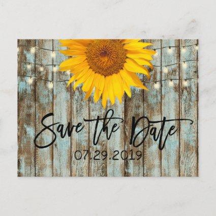 Rustic Sunflower String Lights Barn Save the Date Announcement