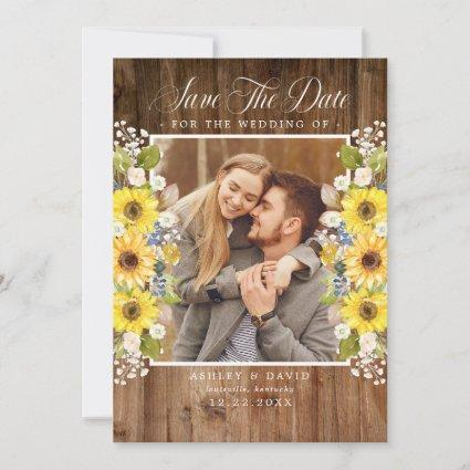 Rustic Sunflower String Lights Photo Save The Date
