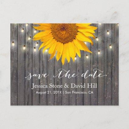 Rustic Sunflower & String Lights Save the Date Announcement