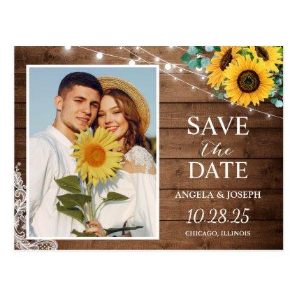 Rustic Sunflower String Lights Save the Date Photo