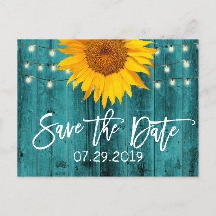Rustic Sunflower Teal Barn Wedding Save the Date Announcement