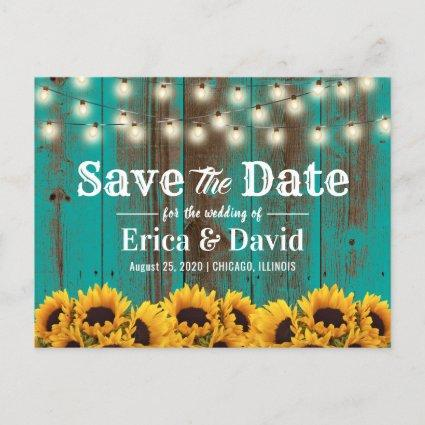 Rustic Sunflower Teal Barn Wood Save the Date Announcement