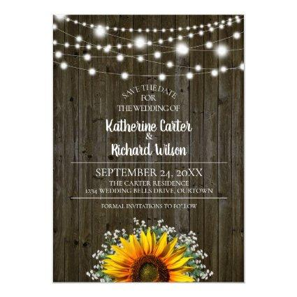 Rustic Sunflower Wedding Save the Date Invitation