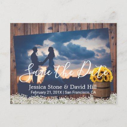 Rustic Sunflower Wine Barrel Wedding Save the Date Announcement