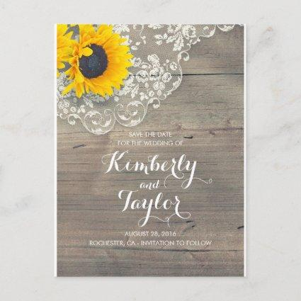 Rustic Sunflower Wood Lace Save the Date Announcement