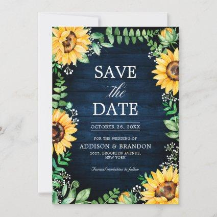 Rustic Sunflowers Baby's Breath Navy Blue Wedding Save The Date