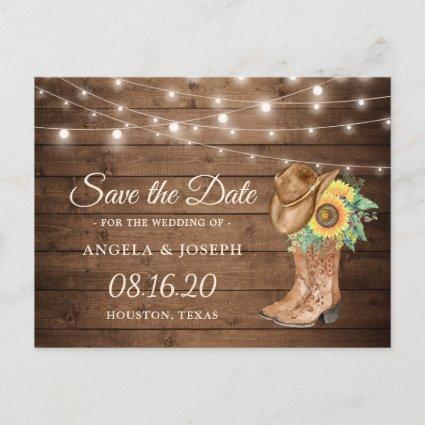 Rustic Sunflowers Boots Western Save the Date Announcement