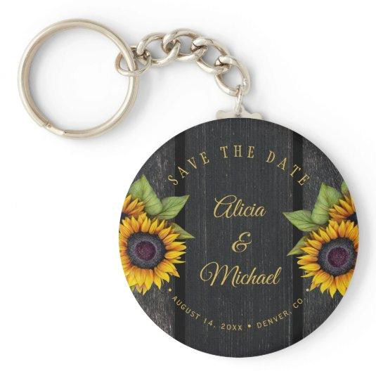 Rustic sunflowers chic barn wood wedding save date keychain