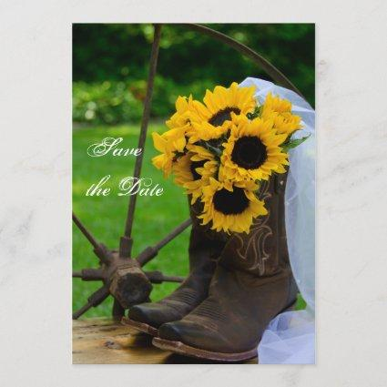 Rustic Sunflowers Cowboy Boots Save the Date