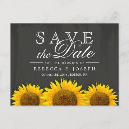 Rustic Sunflowers Elegant Chalkboard Save the Date Announcement