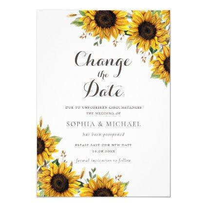 Rustic Sunflowers Save the New Date Change of Date Invitation