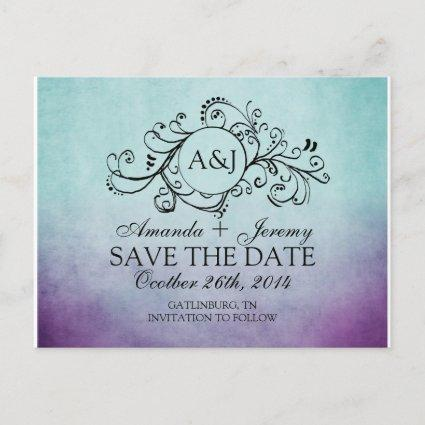 Rustic Teal and Purple Bohemian Save The Date Announcement