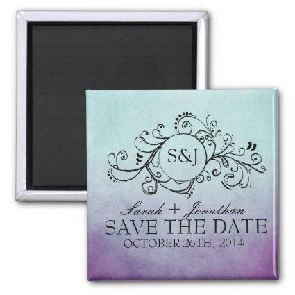 Rustic Teal and Purple Bohemian Save The Date Magnet