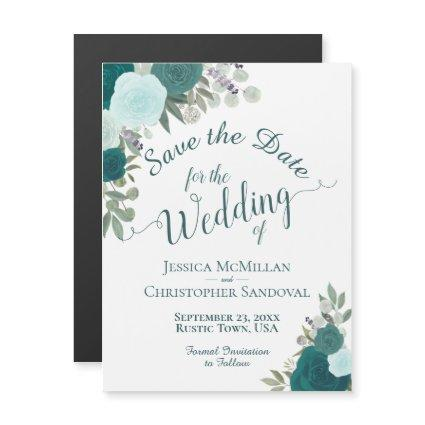 Rustic Teal Boho Floral Wedding Save the Date Magnetic Invitation