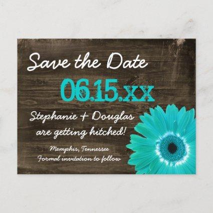 Rustic Teal Daisy Wood s