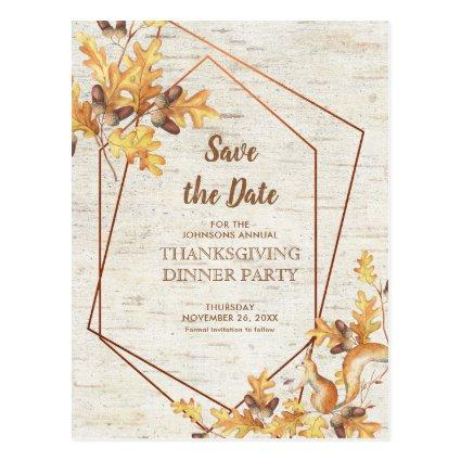 Rustic Thanksgiving Save the Date Acorns Squirrel