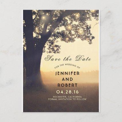 Rustic Tree and Lights Summer Fields Save the Date Announcement