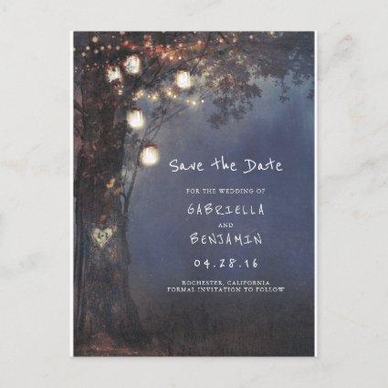 Rustic Tree and Mason Jar Lights Save the Date Announcement