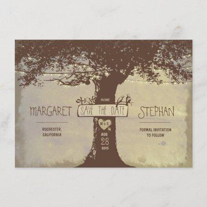 rustic tree and string lights save the date card