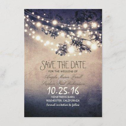Rustic tree branches & string lights save the date