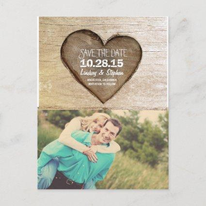 Rustic tree carved wood heart photo save the date Announcements Cards