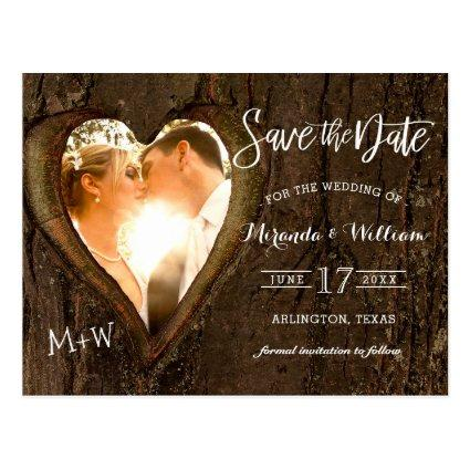Rustic Tree Heart Photo Save the Date Wedding