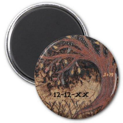 Rustic Tree Pyrography Save the Date Wedding Favor Magnet
